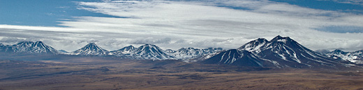 Line of volcanoes in the high Andes, Puna de Atacama, Chile