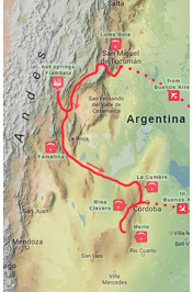 The trip route :: Itinerary of Argentina - Flying With Condors, Paragliding Road Trip