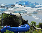 Camping at lateral moraine of San Quintin glacier, Aisen, Patagonia, Chile