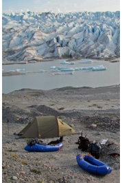 Camping at frontal moraine of one of Northern arms of San Quintin glacier, Aisen, Patagonia, Chile