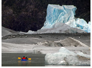 Benito Lake - Paddling at proglacial lake of Benito Glacier, Northern Patagonian Ice Field, Aisen, Patagonia, Chile
