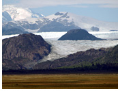 San Quintin Glacier - Marshes of Istmo Ofqui and a glimpse of San Quintin Glacier - the largest glacier of Northern Patagonian Ice Field, Northern Patagonian Ice Field, Aisen, Patagonia, Chile