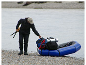 Andres River - Crossing Andres River in a packraft, Aisen, Patagonia, Chile