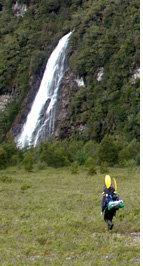 Acodado Valley - Waterfalls of Laguna Iglesia - a mountain lake in the mountains high above Valle Acodado, Aisen, Patagonia, Chile