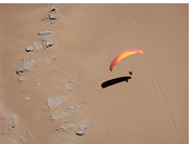 Landing a paraglider before the Rio Seco point, Iquique, Atacama Desert, Chile