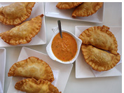 Fresh sea food empanadas are compulsary after every weekend's morning flight, Iquique, Atacama Desert, Chile