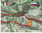 Sample intermediate XC paragliding route from Stol to Italy, Kobarid, Soca valley, Slovenia