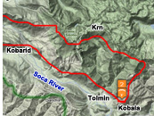 Sample intermediate XC paragliding route from Kobala, Tolmin, Soca valley, Slovenia