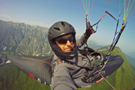 Slovenia - The joy of XC 2012 organizer - Jarek Wieczorek flying along Stol range, Soca valley, Slovenia